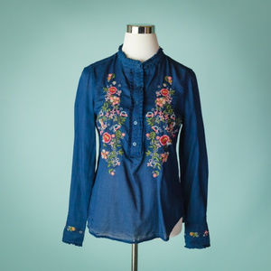 Nanette Lepore M Blue Embroidered Floral Top